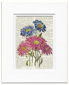 vintage flowers I printed on page from old by FauxKiss on Etsy