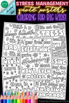 These Stress Management quote colouring pages, are a wonderfully relaxing and motivating resource for your students to colour in when learning about managing stress or when they're going through a challenging time. Teaching Character, Character Education, Character Development, Physical Education, Personal Development, Life Skills Lessons, Health Lessons, Elementary Counseling, Career Counseling