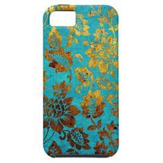 Vintage floral damask iphone case aqua blue gold iPhone 5 cases