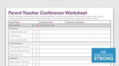 Download: Parent-Teacher Conference Worksheet