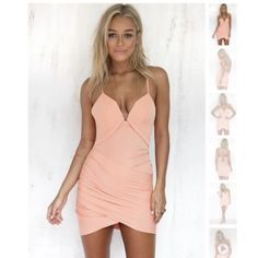 Peach Lace Up Bodycon Dress-Sabo Skirt Kayla Dress This dress has never been worn and can be tailored to your size because of the adjustable ties in the back. Could fit XS or Small Sabo Skirt Dresses
