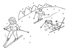 Download and Print free winter coloring pages ice skating