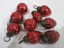 CHRISTMAS VINTAGE KUGEL STYLE RED GLASS MINIATURE  (9) ORNAMENTS