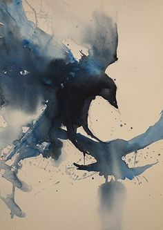 Crows by Sarah Yeoman Watercolor ~ 21 x 14
