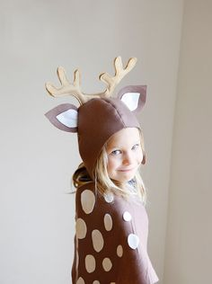 Reindeer PATTERN DIY costume sewing tutorial creative play pdf woodland animals ideas for kids baby children holiday Halloween gift
