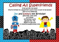 Captain American Wonder Woman Birthday Party Invitations - Twins and Siblings
