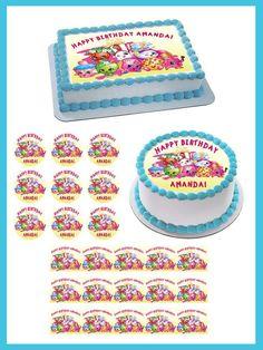 Shopkins 5 Edible Birthday Cake Topper OR Cupcake Decor