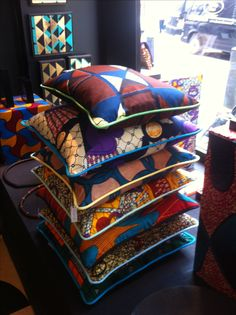 African fabric contemporary cushions
