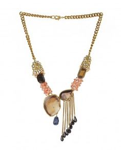 Chain Necklace with Brown Agates and Tassel Drops - Necklaces - Accessories