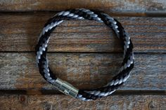 Grey Bracelet Kumihimo Black and Grey Braided by fanfarria on Etsy