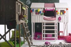 How cool is this for a boy & girl room... your own fort. and room underneath.  Only negative would be making the bed