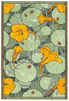 Nasturtium - and ladybirds- inspiration for stained glass house numbers