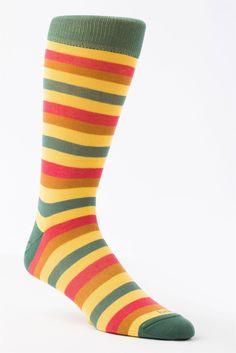 stripe socks at hook + ALBERT in first fleece stripe, winter jacket stripe, long underwear stripe, mustard seed stripe, rhubarb stripe, wading stripe