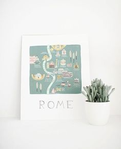 LÁMINA ROMA 28X35CM City Illustration, Place Cards, New Homes, Place Card Holders, Cities, Italy, Maps, Rome, Tents