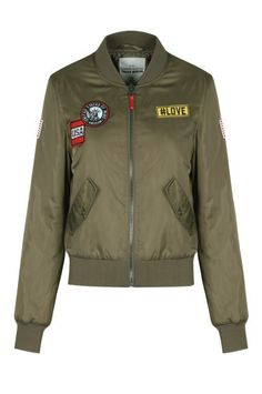 Khaki Bomber Jacket with Badges