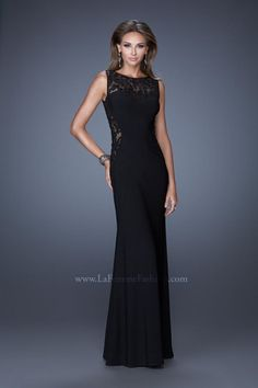 Size 4 Black La Femme 20608 Long Lace Dress- Stunning sweetheart neckline evening gown with gorgeous lace side and neckline panels. The dress has an open back with a back zipper closure.