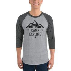 89ac9582b3ee47 Apparel - Drive Camp Explore - Unisex Heather Grey/Heather Charcoal 3/4  Sleeve