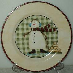 NORTH COUNTRY SNOWMEN PLATE Debbie Mumm Zak Designs Plaid Christmas Salad Plate