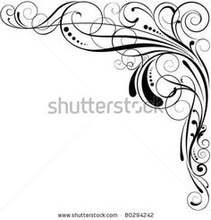 Illustration of Swirl corner design vector art, clipart and stock vectors. Arabesque, Design Elements, Design Art, Scroll Pattern, Art Corner, Scroll Design, Corner Designs, Free Vector Art, Swirls