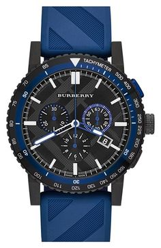 Burberry Chronograph Rubber Strap Watch, 42mm available at #Nordstrom