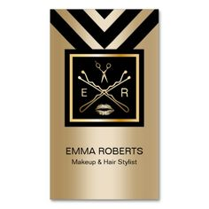 Makeup & Hair Stylist Modern Black & Gold Double-Sided Standard Business Cards (Pack Of 100)