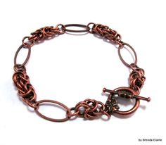 Byzantine and Oval Ring Bracelet in Antique Copper | byBrendaElaine - Jewelry on ArtFire