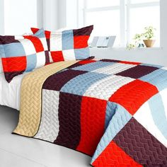 Star Swings Vermicelli-Quilted Patchwork Geometric Quilt Set (Full/Queen Size)