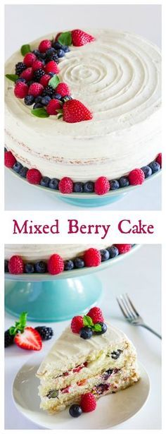This cake is loaded with 4 different berries, layered between a sweet mascarpone cream cheese frosting, and 4 fluffy vanilla cake layers.
