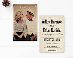 "Jahrgang Save the Date Karten, 4 x 6, Save the Date-Karten, die ""Willow"""