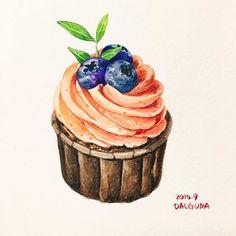 Cupcake Kunst, Cupcake Art, Art Cupcakes, Dessert Illustration, Cupcake Drawing, Food Sketch, Watercolor Cake, Food Log, Food Painting