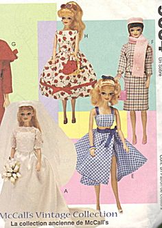 Vintage Barbie Doll Wardrobe Sewing Pattern Clothes. Click on the image for more information.