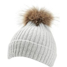 Light Gray Vintage Fuzzy Ball Embellished Flanging Lightweight Beanie (175  CZK) ❤ liked on