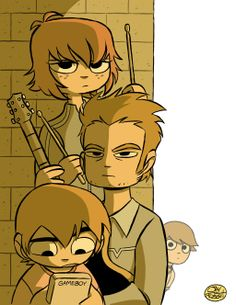 A commission for who requested I draw the band members of Sex Bob-omb, from the Scott Pilgrim graphic novels. Scott Pilgrim Comic, Bryan Lee O Malley, Vs The World, Cartoon Art Styles, Art Reference, Illustration, Character Design, Sketches, Fandoms