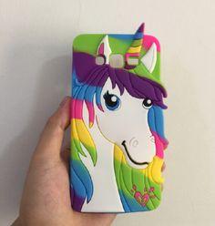 3D Rainbow Color Cartoon Unicorn Galaxy Phone Cover