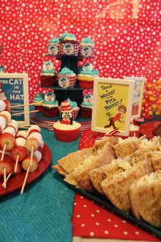 Seuss Book Covers As Food Signs Belinda Padurean Thing 1 2 Party Ideas