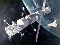 Earth-orbiting space station design from 1975. Image: McDonnell Douglas/NASA.