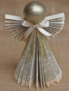 weihnachtsdeko ideen engel glitzer altpapier