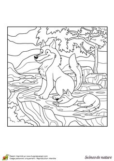 La maman loup et son louveteau,  à colorier