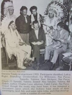 Cyrus Wilkinson, ___ Speedis, Sam Slickpoo, Chuck Speedis, Alex Saluskin, Bill Gulick, Charles Luce, Caleb Carter re-enactment 1955