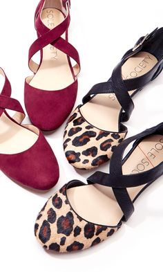 round toe, straps- red or leopard