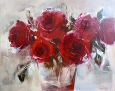 Red Roses ~~ by Nicole Pletts Fine Art Acrylic Flowers, Abstract Flowers, Watercolor Flowers, Art Floral, Red Flowers, Red Roses, Flower Oil, Beautiful Paintings, Love Art