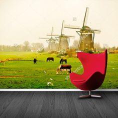 Fotobehang Hollands landschap   Maak het jezelf eenvoudig en bestel fotobehang voorzien van een lijmlaag bij YouPri om zo gemakkelijk jouw woonruimte een nieuwe stijl te geven. Voor het behangen heb je alleen water nodig!   #behang #fotobehang #print #opdruk #afbeelding #diy #behangen #holland #nederland #hollands #nederlands #landschap #molens #koeien #koe #weiland #natuur