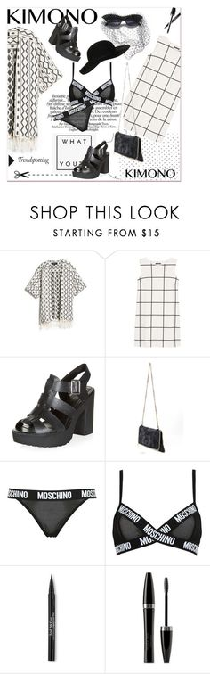"""""""[044] I don't speak Italian, but I speak Moschino."""" by dr-amat ❤ liked on Polyvore featuring MANGO, A-Morir by Kerin Rose, Moschino, Melissa, Trish McEvoy, Mary Kay and Topshop"""