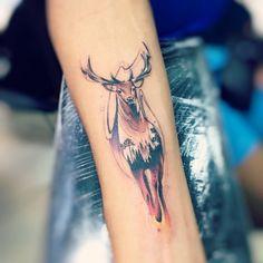 "5,962 Likes, 23 Comments - Adrian Bascur (@adrianbascur) on Instagram: ""Deer AB #tattoo #tatuaje #colors #deer #reno #venado #colors #ab #animal #aquarelle #watercolor…"""