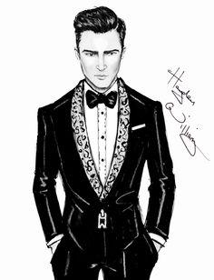 Williams Fashion Illustrations Timberlake - 'Suit & Tie' by Hayden Williams Fashion Illustration Sketches, Fashion Sketchbook, Fashion Sketches, Mens Illustration, Hayden Williams, Mens Fashion Sweaters, Fashion Art, Fashion Design, Justin Timberlake