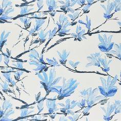 Shangri-La - Acacia fabric, from the Shanghai Garden collection by Designers Guild Shangri La, Acacia, Flor Magnolia, Magnolia Flower, Antalya, Shanghai, Branches, Designers Guild Wallpaper, Tricia Guild