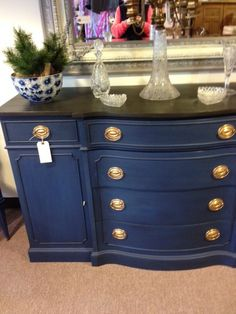 Lovely painted buffet found in antique store today. Dark, almost navy, blue (darker than the photo) felt like chalk paint, and top was a dark, almost black, rubbed on stain or paint/stain combo. Inside reveals it is an old mahogany dresser or buffet. Picture doesn't do it justice, actual item would make quite a room statement Painted Navy Buffett, navy paint, painted furniture
