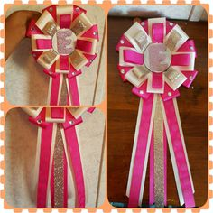 Hot pink, cream and gold birthday pin