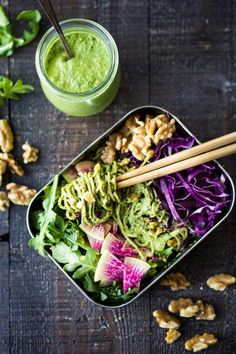 A delicious recipe for Superfood Walnut Pesto, tossed with soba noodles & loaded up with healthy veggies- a flavorful nutritious lunch that is packable and can be made ahead! Vegan and GF adaptable! #walnuts #walnutpesto #lunchbox #superfoods #pesto #soba #bentobox #bento #kalepesto #healthylunch #vegan #veganlunch #eatclean #cleaneating
