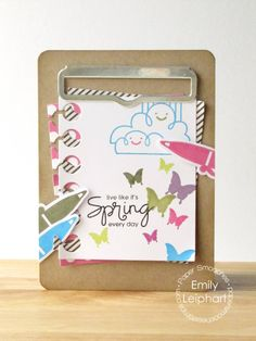 Card by PS DT Emily Leiphart using PS Luminous Spring, Clipboard stamps/dies, We Totally Click stamps/dies, Paper die